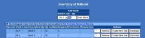 inventory of material